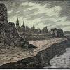 Kauno pilies likučiai, 1981 m., 36 x 56 cm,  lino raižinys