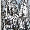 Kompozicija, XX a. 2 p., medžio raižinys, 58x44 cm